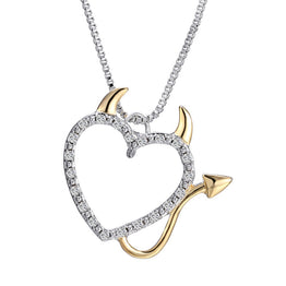 Hot Gold and Silver Plated Devil Heart Accent Pendant Necklace for Women