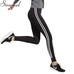 Athleisure Fitness women striped slim black long legging ladieswear