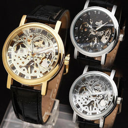 Women Mechanical Wrist Watch Leather Strap Skeleton Movement