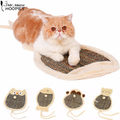 Double Sided Cat Cartoon Scratch Board with Sherpa Ball Toy for Pet Training
