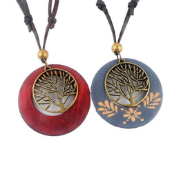 Vintage Alloy Life Tree Wooden Pendant Necklace for Women