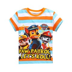 Short Sleeves Patrol Cartoon Print T-Shirt for Boys