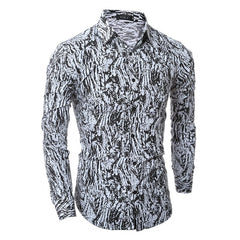Spring Leopard Camisa Masculina Long Sleeve Casual-shirt For Mens