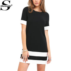 Casual Mini Style Black White Patchwork Crew Neck Short Sleeve Dress