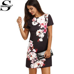 Mini Sheinside Office Wear Multicolor Floral Print Round Neck Short Sleeve Straight Dress
