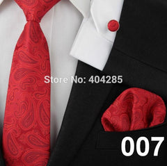 Men ties adult neck tie set cufflinks hankies wedding business red necktie Handkerchiefs