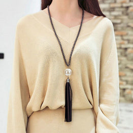 Charming Beads & Pearl Pendant Leather Tassels Long Chain Necklace for Woman