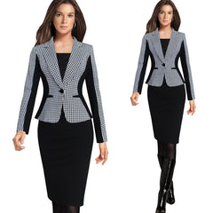Women Long Sleeve Notched Style Blazer Suits Office Casual Plaid Color
