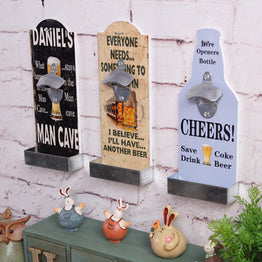 American country style retro bar restaurant beer bottle openers wooden wall hanging