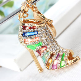 Multicolour High Heel Crystal Charm Pendant Key Chain for Women