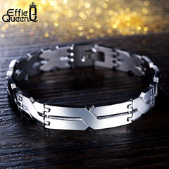 "Stainless Steel ""X"" Pattern Effie Queen Men's Bracelet"