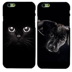 Black Color Cat & Dog Hard Protective Case For iPhone 4 4S 5 5S SE 5c 6 6S