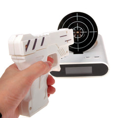 Alarm Clock Laser Shooting Gun LCD Screen Gadget Toy with LED Backlight