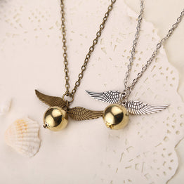 Golden Snitch Flying Ball Bronze and Silver Wings Pendant Necklace for Girls