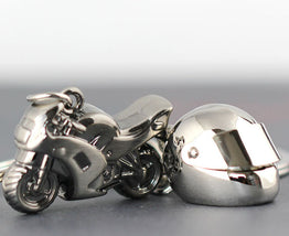 Motorcycle & Helment Trinket Alloy Classic 3D Simulation Key Rings