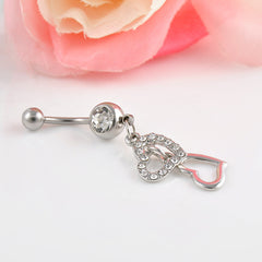 Rhinestone Crystal Double Hearts Medical Steel Belly Button Ring