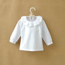 Long Sleeve Cotton White Shirts for Girls with Lace & Collar