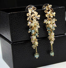 Gold Plated Flower Beads Classic statement long Earrings for Women