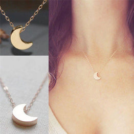 Crescent Moon Silver & Gold Solid Chain Necklace for Women