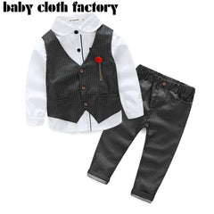 3pcs suit with long sleeve shirt +Vest+pants