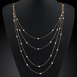 New Charming Double Chain Beads & Pearl Necklace for Women