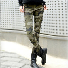 Fashion camo skinny jeans woman camouflage slim plus size pencil jean femme pantalones