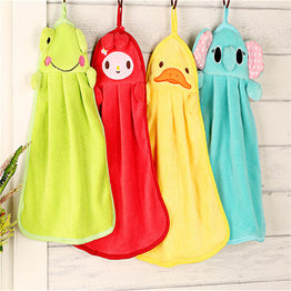 Cute Animal Coral Bathroom Hand Towel