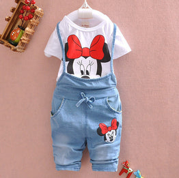 Summer Style baby girl cartoon jeans jumpsuits clothing set