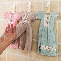Princess skirt dress hand towel kids bathroom towel with Hanging hook