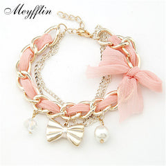 Golden Bow Simulated Pearl & Ribbon Bracelet for Women