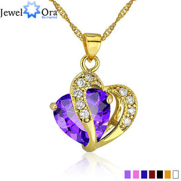 18K Gold Plated  CZ  Multi-Color Heart Jewelry For Women