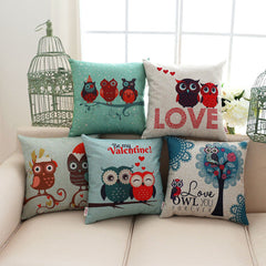 Cartoon Love Owl Cotton Linen Square Cushion Cover 18x18 inches