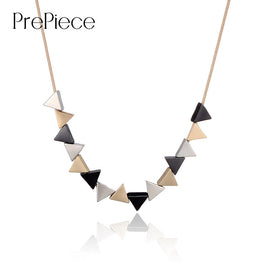 Unique Geometric Triangle Shaped Alloy Pendant Necklace for Women
