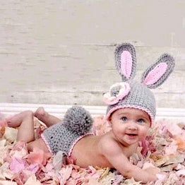 Newborn handmade knitted crochet woolen rabbit hat