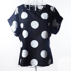 Women's Chiffon Plus Size Short Sleeve Black Polka Dot Print Blouses