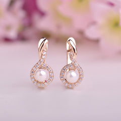 Austrian CZ Zircon Rhinestone Pearl & Copper Earrings For Women