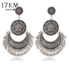 17KM Flower Drop Vintage Tassel Peandant Ethnic Earrings for Women
