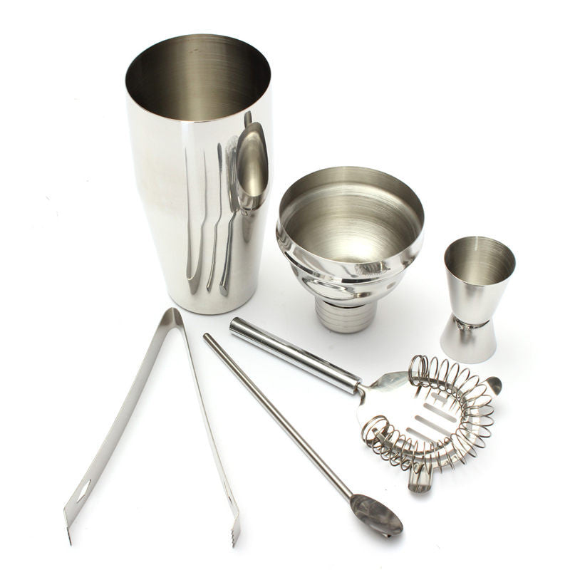 Stainless Steel Drink Cocktail Jigger Mixer Strainer Ice Tongs Bartender Kit Bar Tool 5Pcs