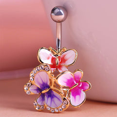 Butterflys Esmalte Colares Enamel Belly Button Piercing Rings