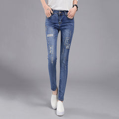 High Waist Slim Patchwork Denim Pencil Ripped Skinny Jeans For Women