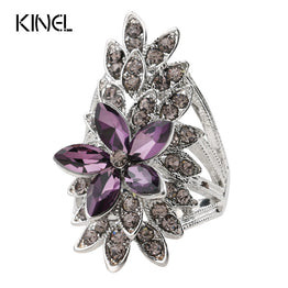 Purple Glass Silver Plated Crystal Flower Wedding Rings For Women