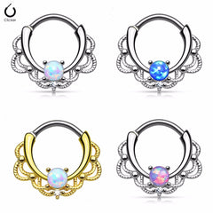 Titanium Shaft Lacey Opal Gem Nose Ring