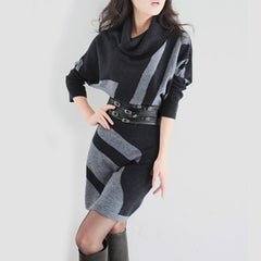 Women's Winter Dress vestidos Sweater Batwing Sleeve Slim Hip Long Design Sweater woman dress