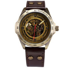 SHENHUA Men's  Retro Bronze Case Leather Belt Relogio Automatic Skeleton Watch