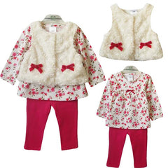 3-Piece Suit with Waistcoat Tees & Pants Baby Girl Clothes Set