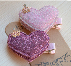 2pcs/set Baby Girls Hair Accessories Sequin Heart Bear Shiny Fabrics