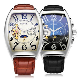 SEWOR Rectangle Luxury Leather Strap  Automatic Mechanical Analog Men Watch