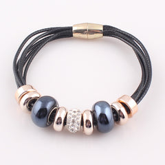 Big Hole Beads with Magnetic Clasp 6 Layer Bracelet for Women