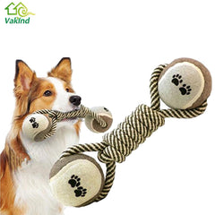 Dog's Dumbbell Rope Tennis Pet Chew Toy for Clean Teeth Training