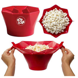 Microwave Safe Silicone Popcorn Bowl Kitchen Easy Tools